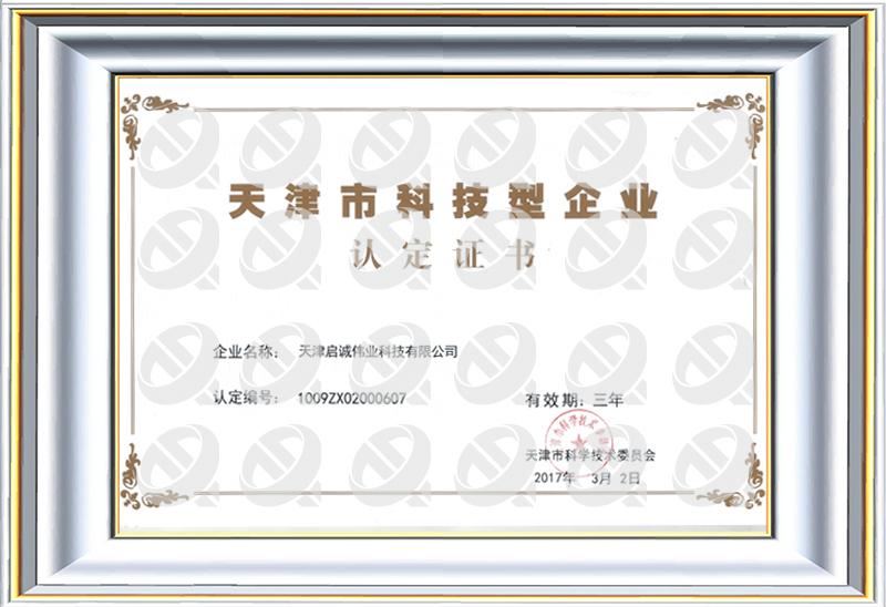 2017年天津市科技型中小企业认定证书